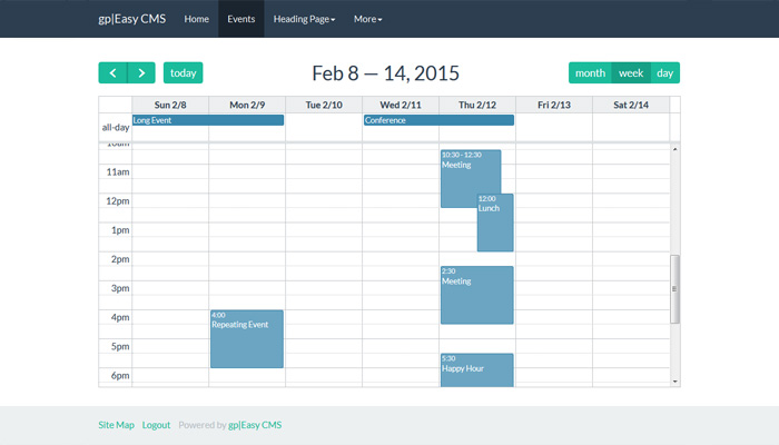 FullCalendar Section with Bootswatch-Flatly theme selected
