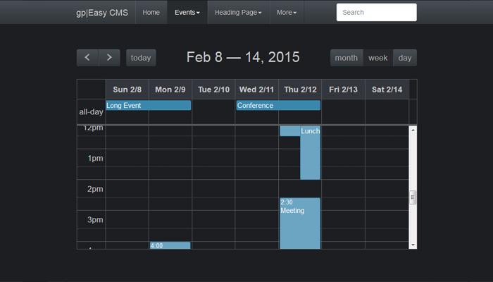 FullCalendar for gpEasy « Plugins - Typesetter CMS