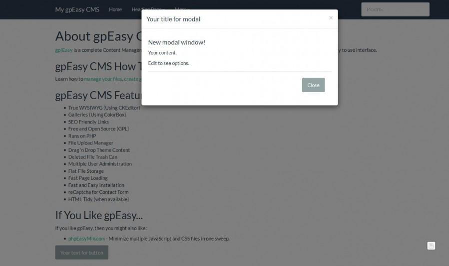 Modal window Bootstrap « Plugins - Typesetter CMS