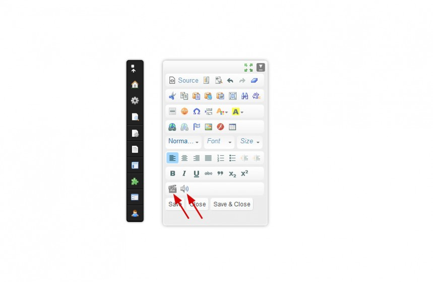 New toolbar icons in CKEditor to create <video> and <audio> elements