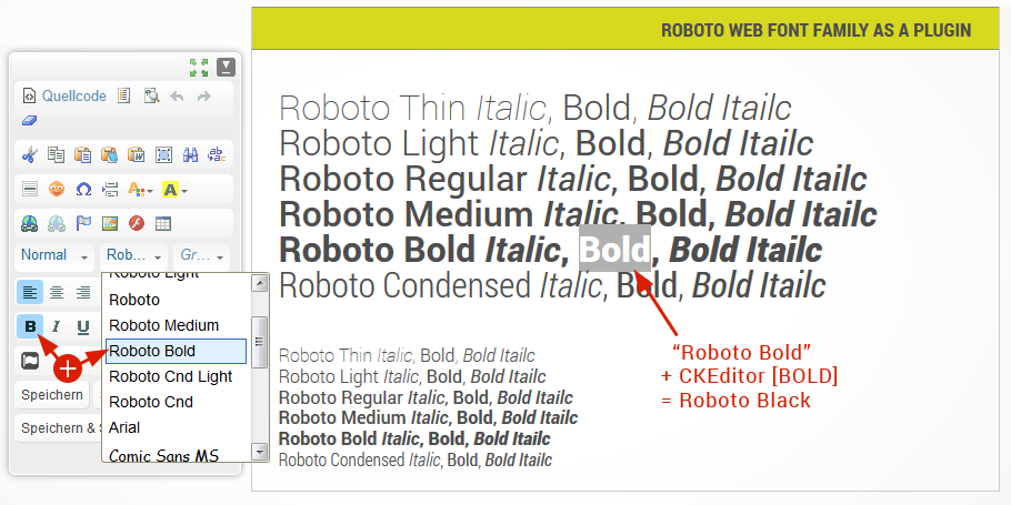 Roboto font family is now available in CKEditor's font drop-down list.