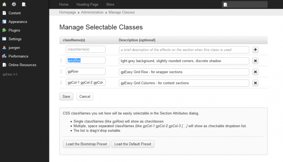 Manage Selectable Classes Dialog